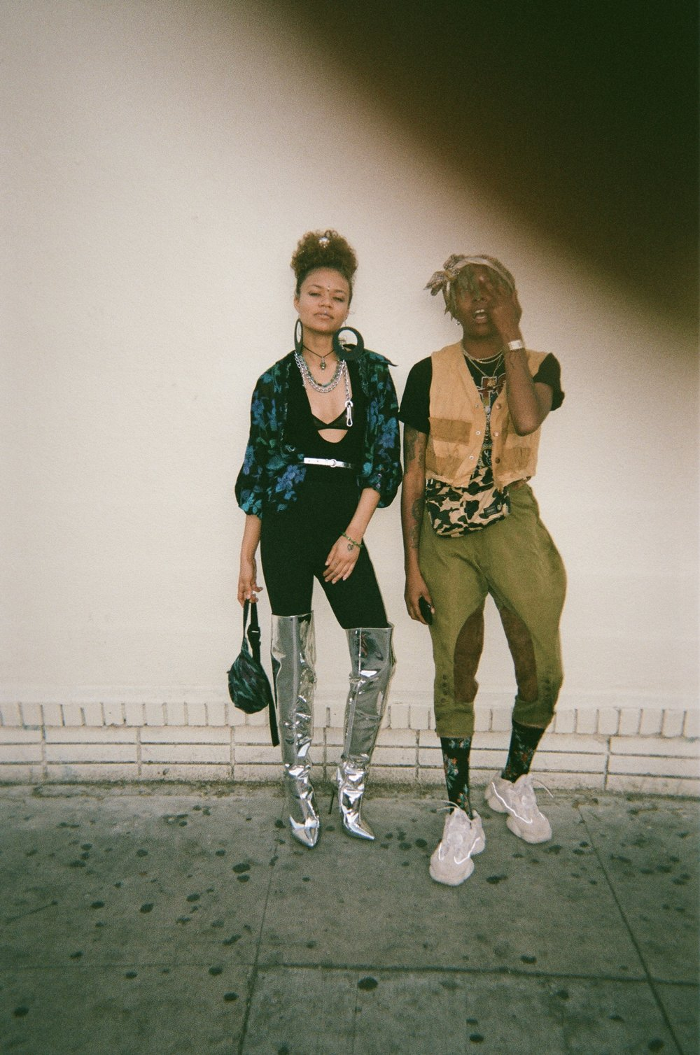 May 2018 // Los Angeles, California  - Iyana and Sol'le being their swaggy selves. We were all headed to see Brent's work at an Art Show, It was such a good installation. Wish this photo came out better but whatever.. just look at their fitz, FLAME.
