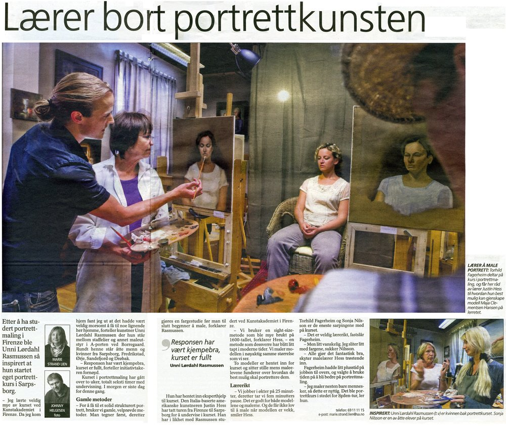 Sarpsborg ( Norway ) Newspaper  article covering my workshop at Atelier Ostrup - June 2010