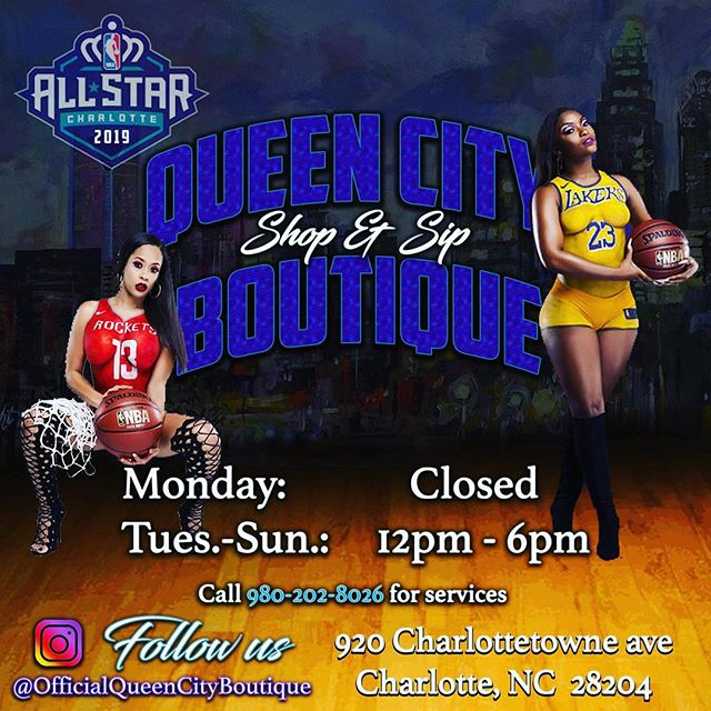 #allstarweekend2019 #queencityboutique #ShopandSip 12-6p ... #boutique #beautybar #jewelry #fashion #retail #boutiqueshopping #boutiquefashion #shopping #charlottenc #charlottehairstylist #charlottefashion #brandambassador #branding #photoshoots #videoshoot