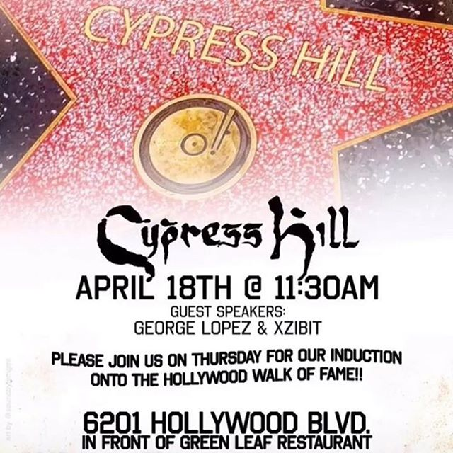 Congratulations to the First Latino Group to get there star on the walk of Fame @cypresshill @sendog @breal @eric_bobo @juliog1580 @djmuggs_the_black_goat_  History being made well deserved , thank you guys for letting me share many stages with you !!! Filthee immigrants and many other artist respect what you done for the culture of Hip Hop ...