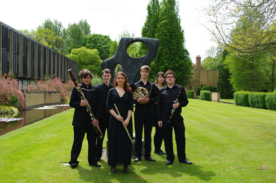 The Catz Quintet is Mark Simpson (clarinet), Louise Maltby (flute), Hilary Cornwell (oboe), Jeffrey Douglass (French horn) and Harry Thorrington (bassoon).