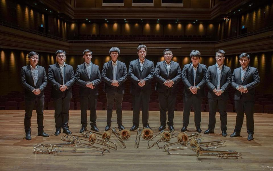 Above: The YST Trombone Choir, with Pradch Limvoranant (third from right), Pawin Pungbua (far right) and Zachary Bond, Artist Faculty for Trombone (centre).