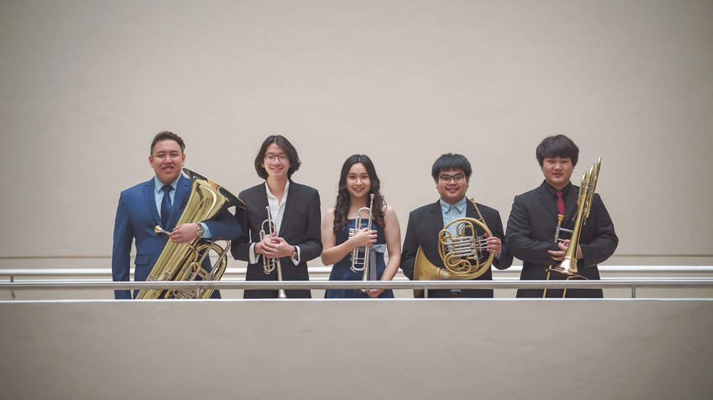 Kong (second from left) with his brass quintet, Brass Lightyear