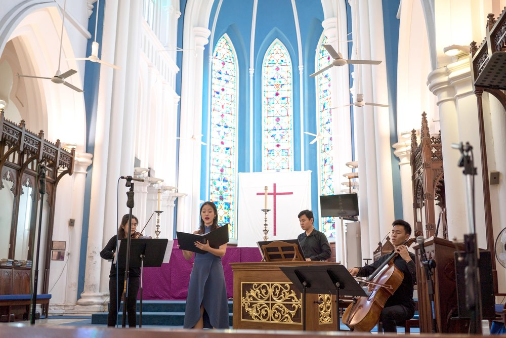 Rachel performing at the St Andrew's Cathedral in Singapore