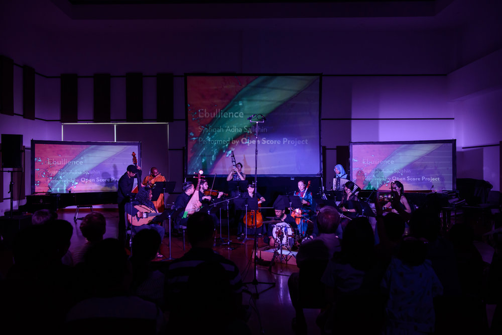 The Open Score Project, a syncretic music ensemble co-founded by Syafiqah 'Adha Sallehin ('13, Composition) and Gildon Choo, performing Syafiqah's composition  Ebullience.