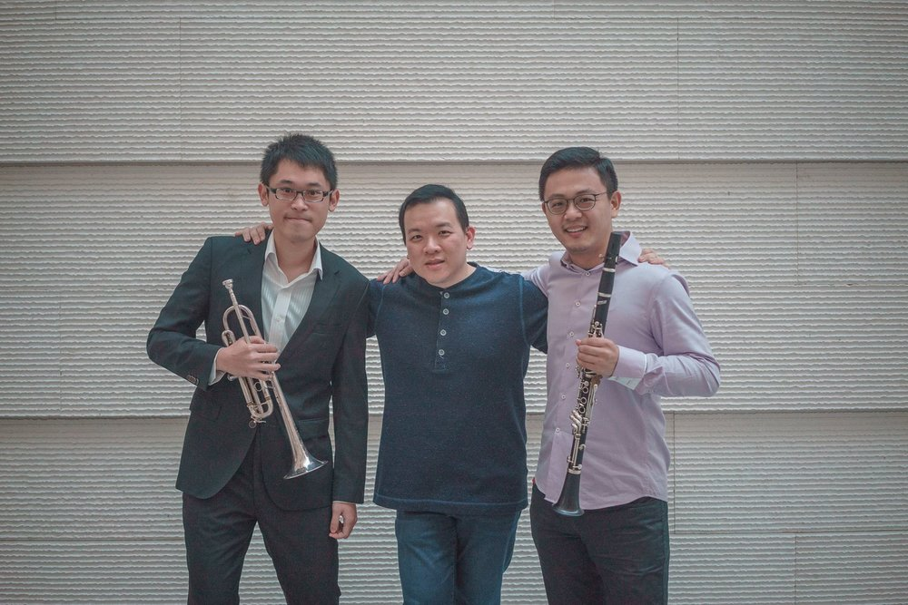 Wind alumni reunite! Seen here: Hou Chuan-An ('11, Principal Trumpet, National Taiwan Symphony Orchestra), Adrian Chiang (President, Band Directors' Association Singapore), and Li Xin ('07, Associate Principal Clarinet, Singapore Symphony Orchestra).