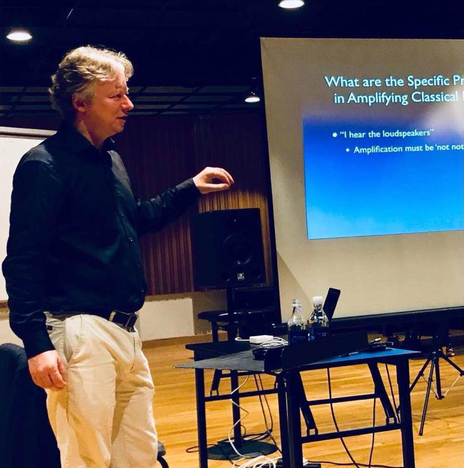 Paul Jeukendrup delivering a seminar at YST on sound reinforcement in classical music