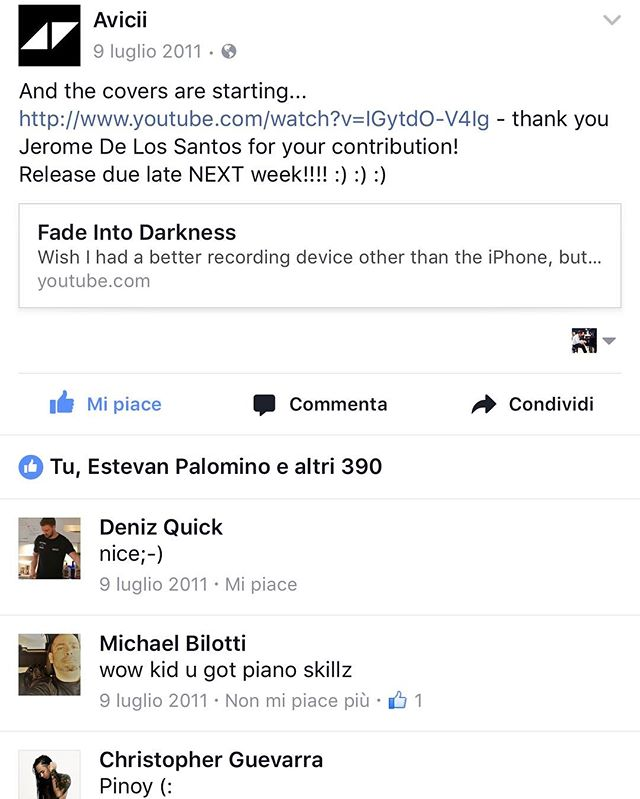 12.9.2011 - That moment when @avicii posted my cover on his Facebook page.... my little moment of fame. Woke up to 10 missed calls from @nvvetse at 6am saying WAKE THE FUCK UP AVICII POSTED YOUR VIDEO!!!! Good times.