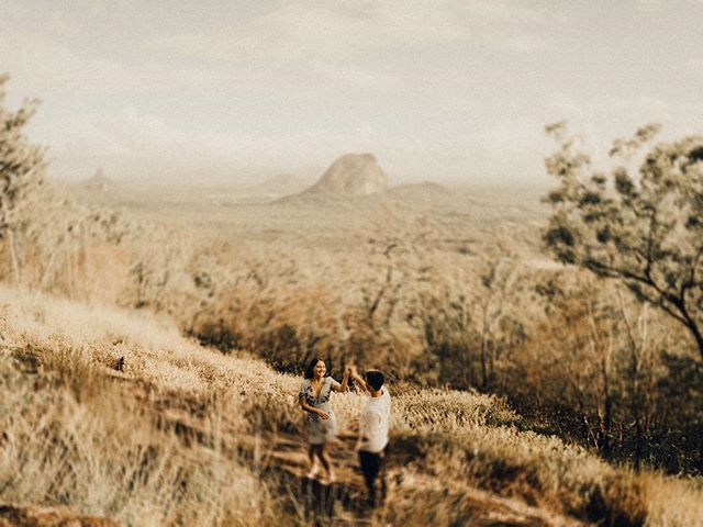 Dancing amongst the golden morning glows of the Glasshouse Mountains