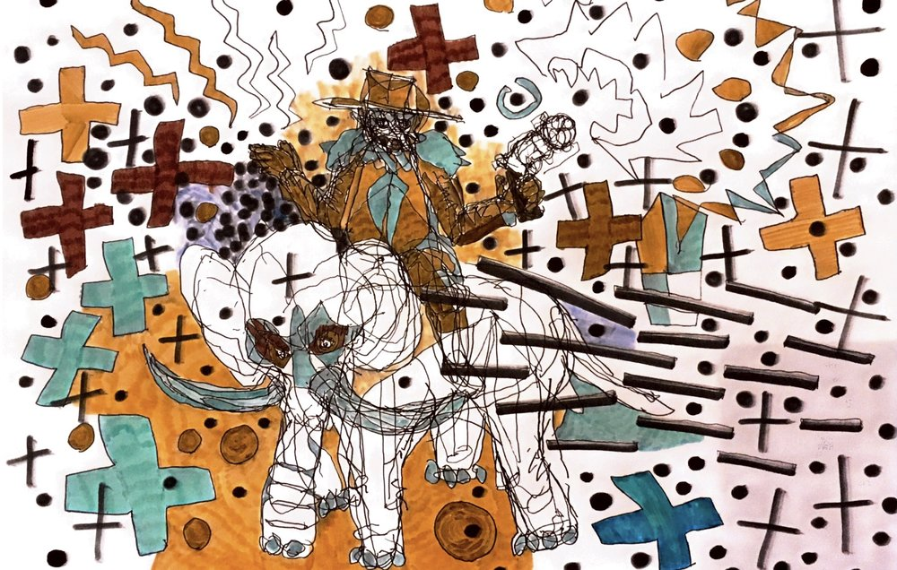 « Dead gaucho riding holistic elephant » 2018 drawing 423x329mm.