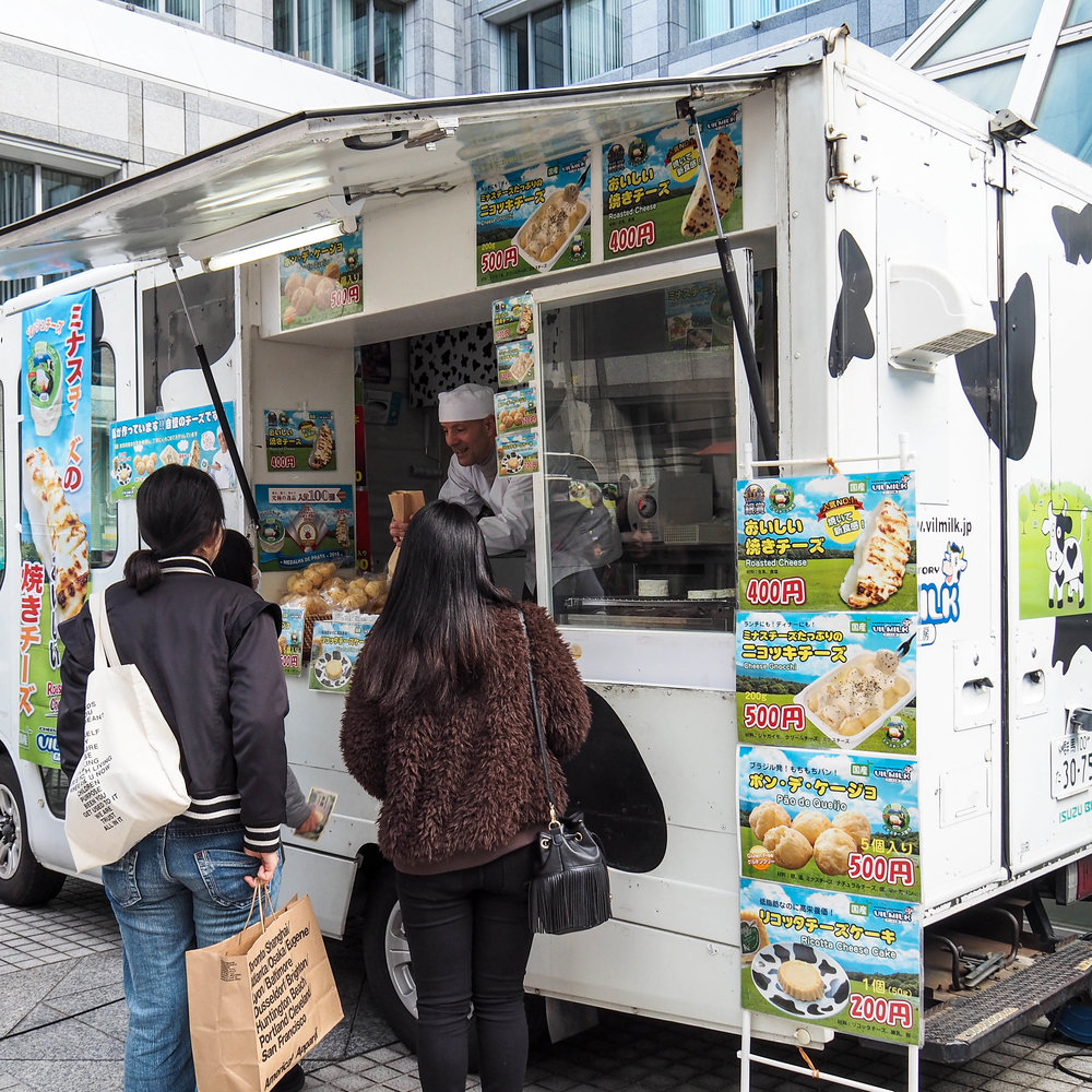 The Vilmilk food truck sells fresh grilled cheese and all of Vilmilk's products at the Aoyama Farmer's Market.