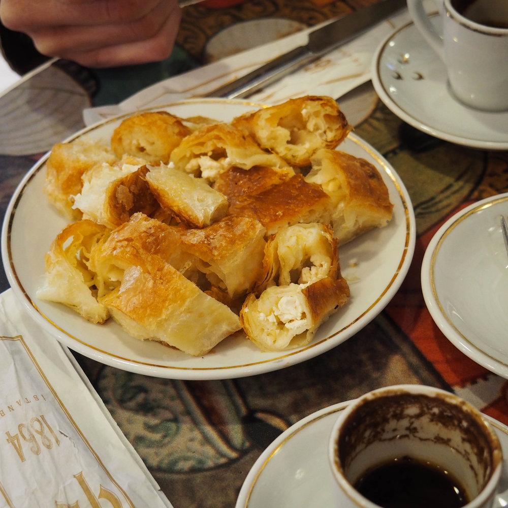 Turkish coffee and borek