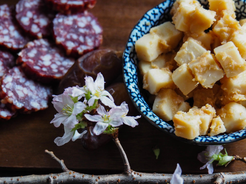 Miso Cubes and Boar Salami