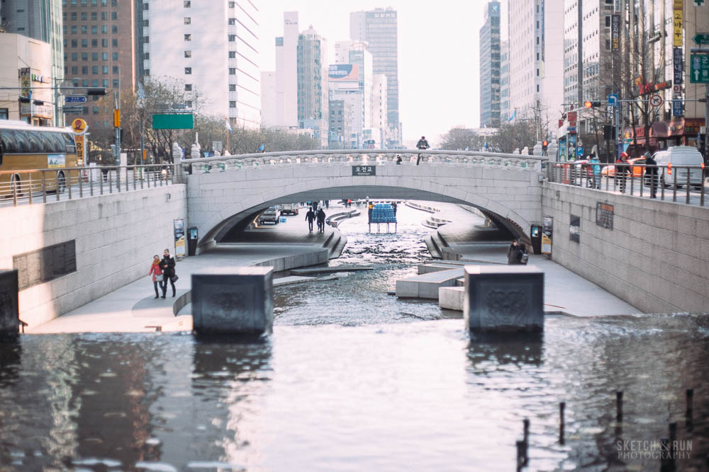 cheongyecheon, seoul, korea, stream, landscape, travel, sketch and run