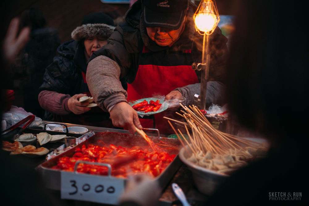 myeongdong, seoul, korea, dukbokki, street food, food, sketch and run