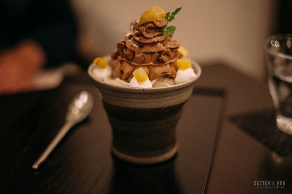 waguriya, dessert, japan, tokyo, yanaka ginza, traditional, sweet, sketch and run, parfait, chestnut, food, food phtoography