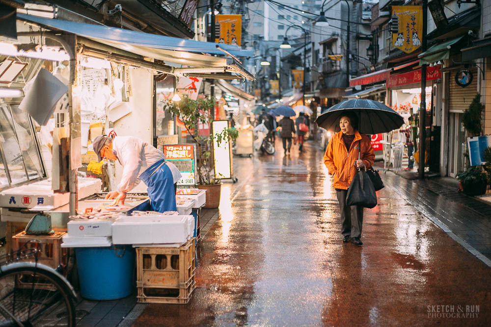 yanaka ginza, nippori, tokyo, japan, travel, travel photography, sketch and run, rainy day, rain, lights