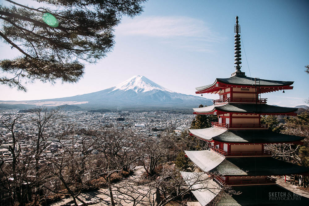 mt fuji, chureto pagoda, japan, tokyo, travel, travel photography, landscape, nature, sketch and run