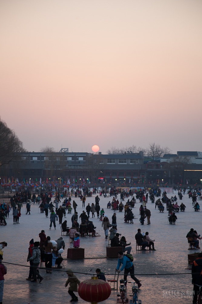 houhai, beijing, china, travel, sketch and run, sunset, ice rink