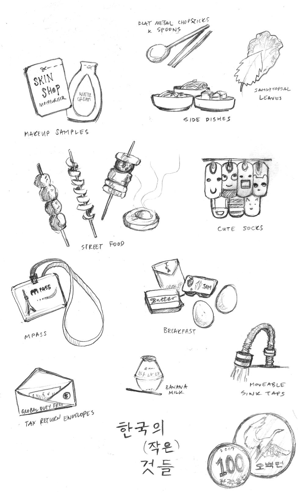 seoul, korea, south korea, sketch and run, small things, art, illustration, makeup samples, banana milk, socks, ddukboki