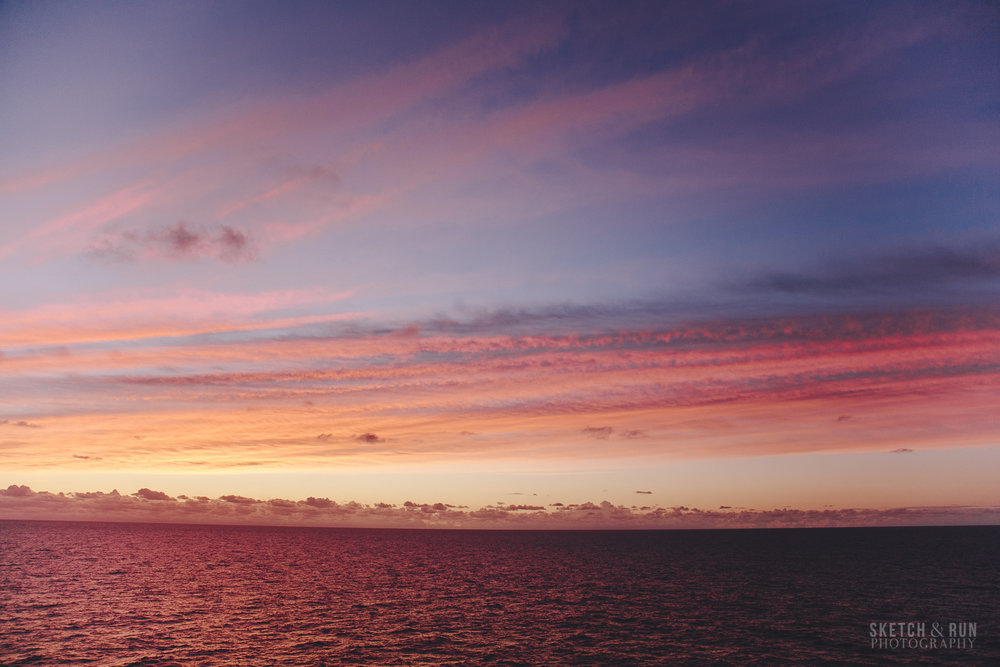 sunrise, sky, cruise, pacific ocean