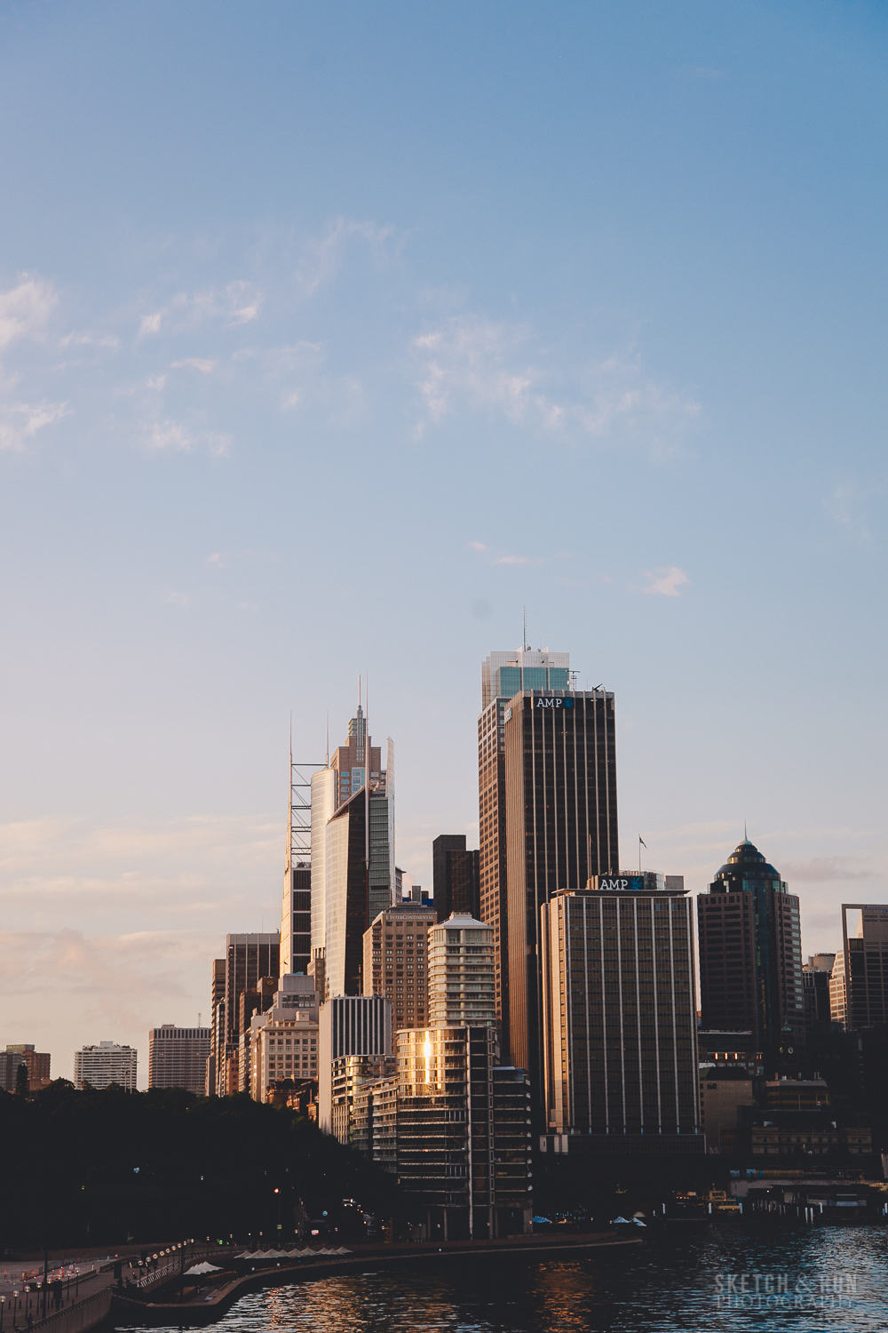 sydney, CBD, skyscrapers, light, sunrise