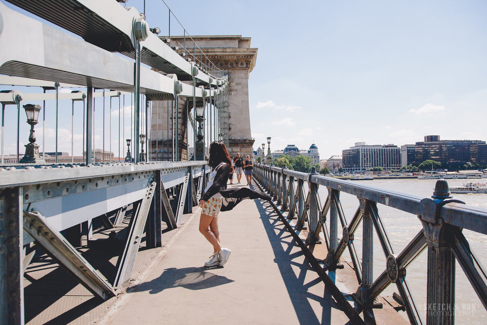 chain bridge, budapest, hungary, travel photography, self portrait