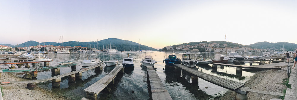 vela luka, croatia, island, ships, sunset, travel, panorama