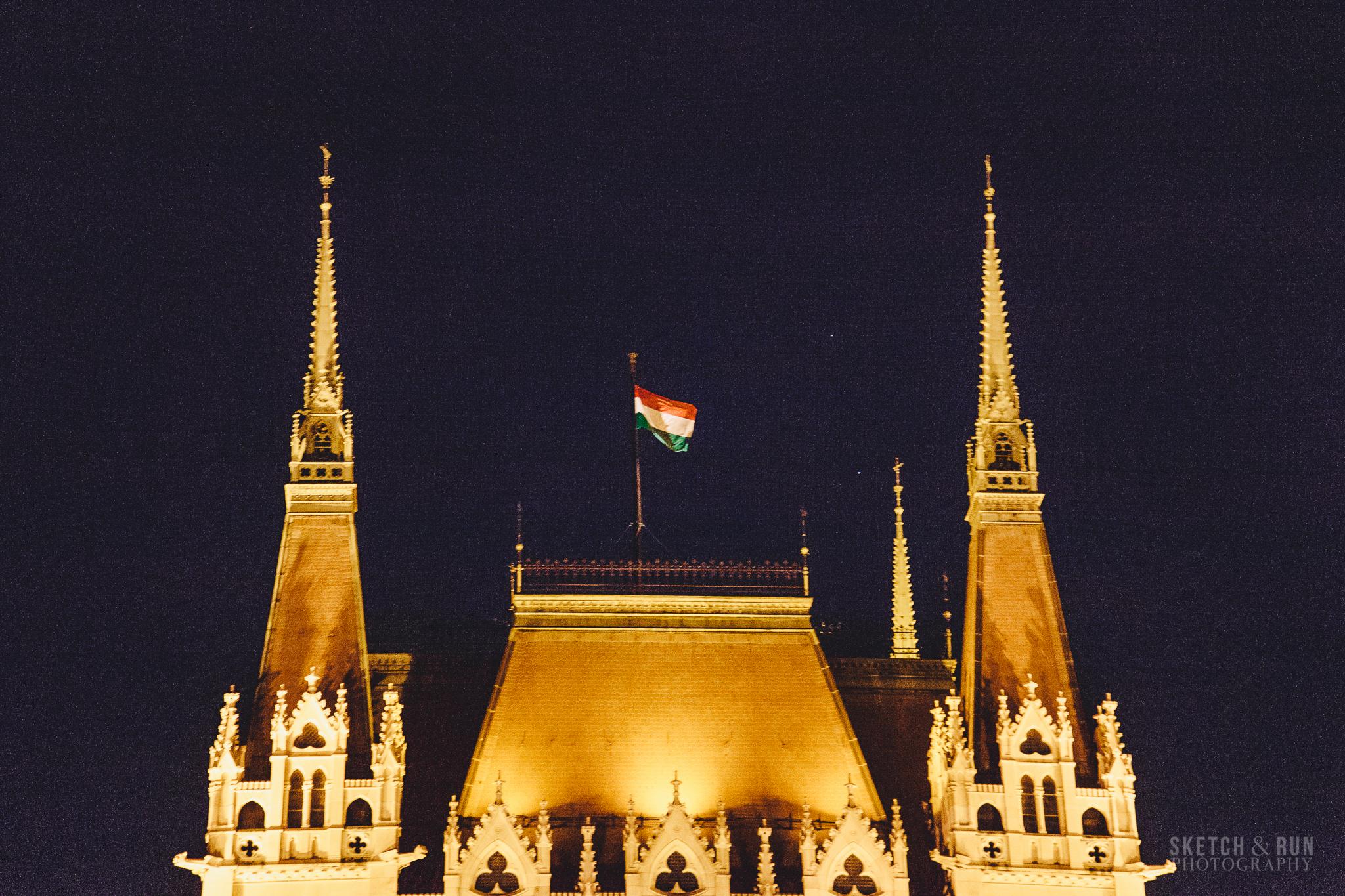 Hungary, Budapest, Hungarian Parliament, flag
