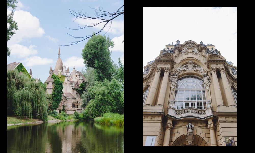 Vajdahunyad Castle, architecture, lake, landscape,details