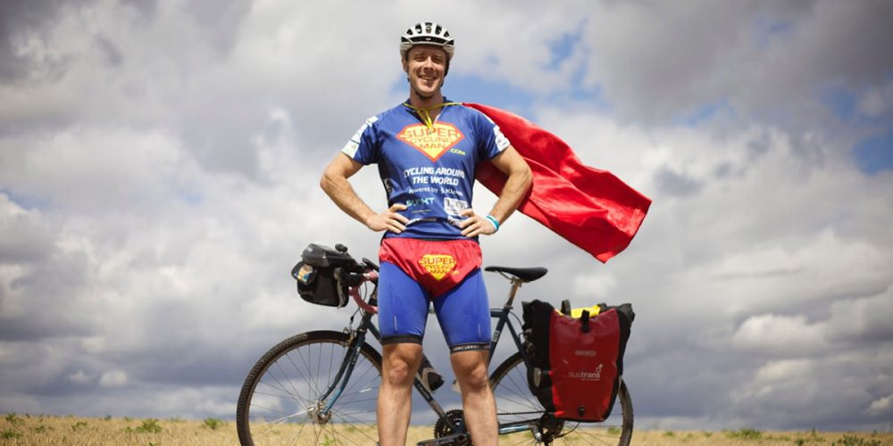 Super Cycling Man in field