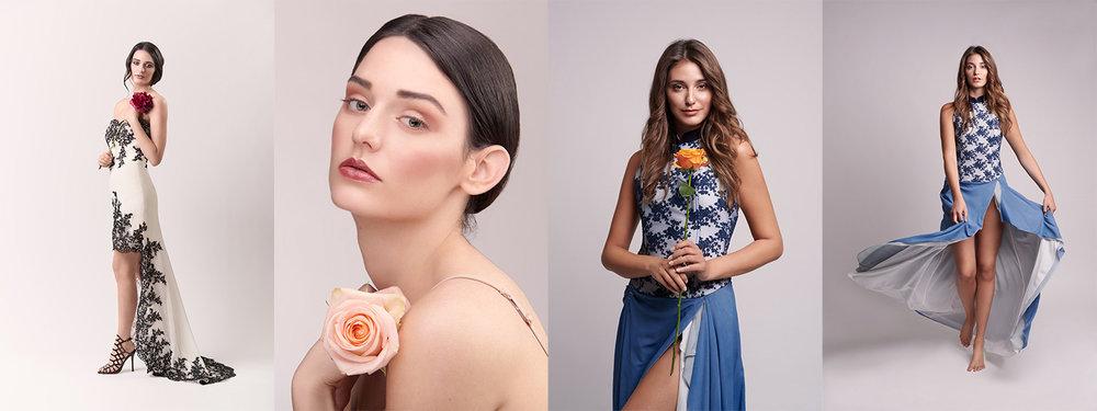 1. Shooting con  Claudia JClo Make-up ,  Fiori Incanto  e  Alessia  | 2. Shooting con  Martina Curci MUA , Emily e  Splash Designer  dress