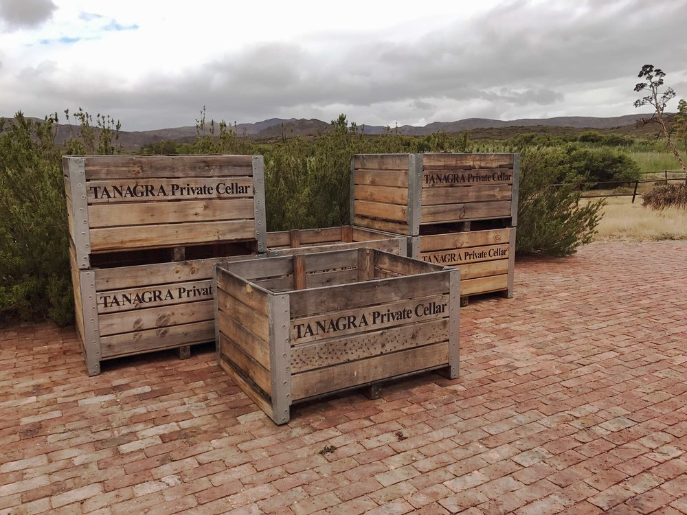 Industrial shipping crates used to transport the local fruit for eau de vie.