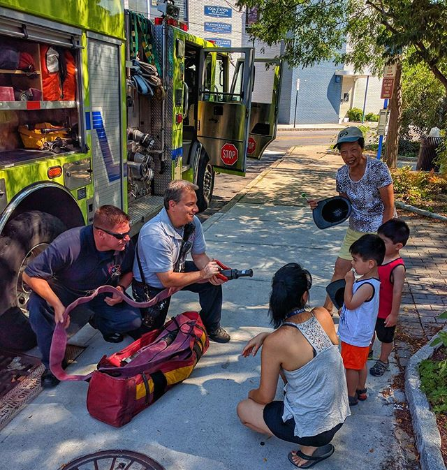 Hartsdale Engine 170 crew had a few visitors this morning after a run on E. Hartsdale Ave. #greenburghfirefighters #communityoutreach #iaff #hartsdalefire #hereforyou #greenburgh