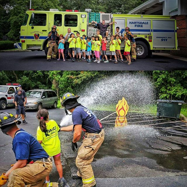 Kang's Martial Arts Camp stopped by the Hartsdale Fire Department today to kick off their superhero week. #greenburghfirefighters #iaff #fireprevention  #martialarts