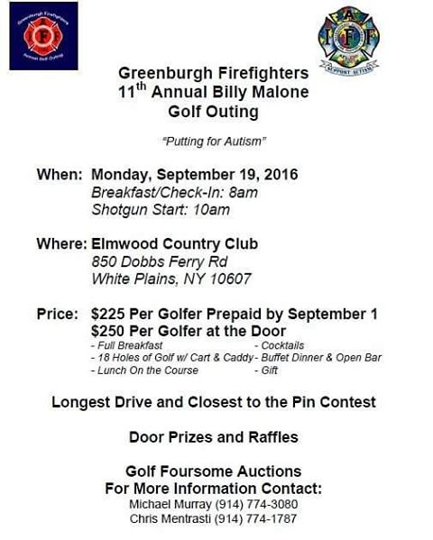 "September 19th is our 11th Annual Billy Malone Golf Outing.  Come ""Putting for Autism"" with us.  Message us for sponsorship opportunities. #greenburghfirefighters #iaff #autism #autismawareness #golf"