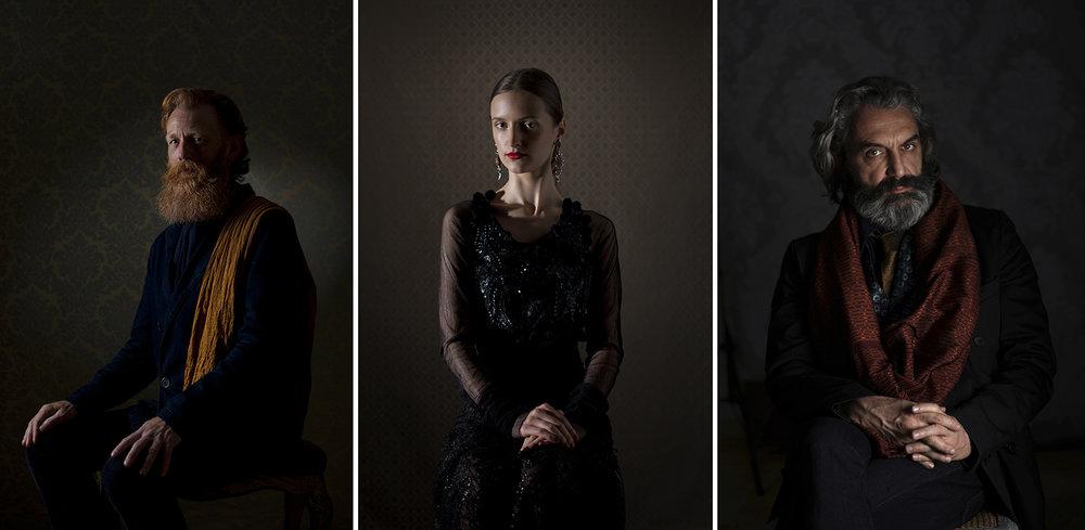 Tre ritratti della serie Ritratti In SIlenzio di Enzo Dal Verme