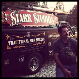 "Sean Starr being interviewed in the film ""Sign Painters"""