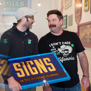 "Tom Collins and Sean Starr, co-hosts of ""Coffee With a Sign Painter"""