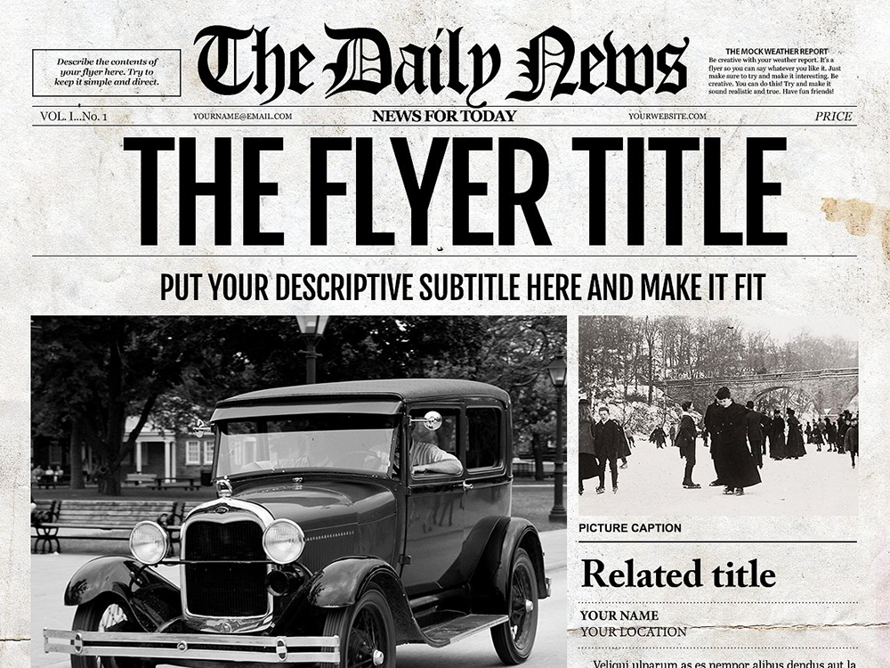 1 page ledger size newspaper template for adobe for Old fashioned newspaper template free