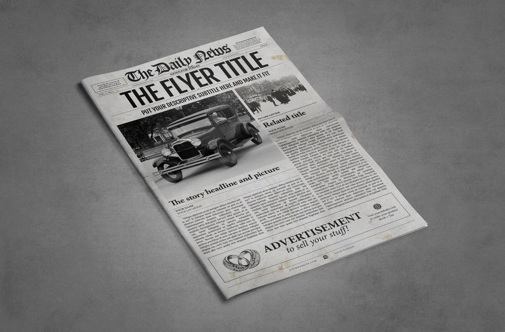 1 Page Ledger Size Newspaper Template for Adobe Illustrator – Newspaper Ad Template