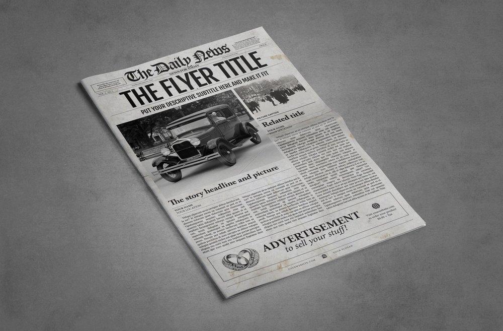Newspaper Template 1 Page Newspaper Template Adobe Illustrator