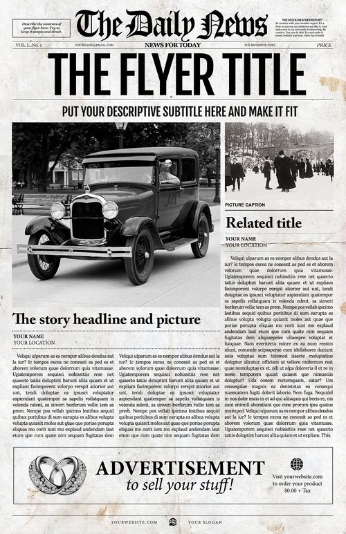 Newspaper Template 1 Page Newspaper Template Adobe Illustrator
