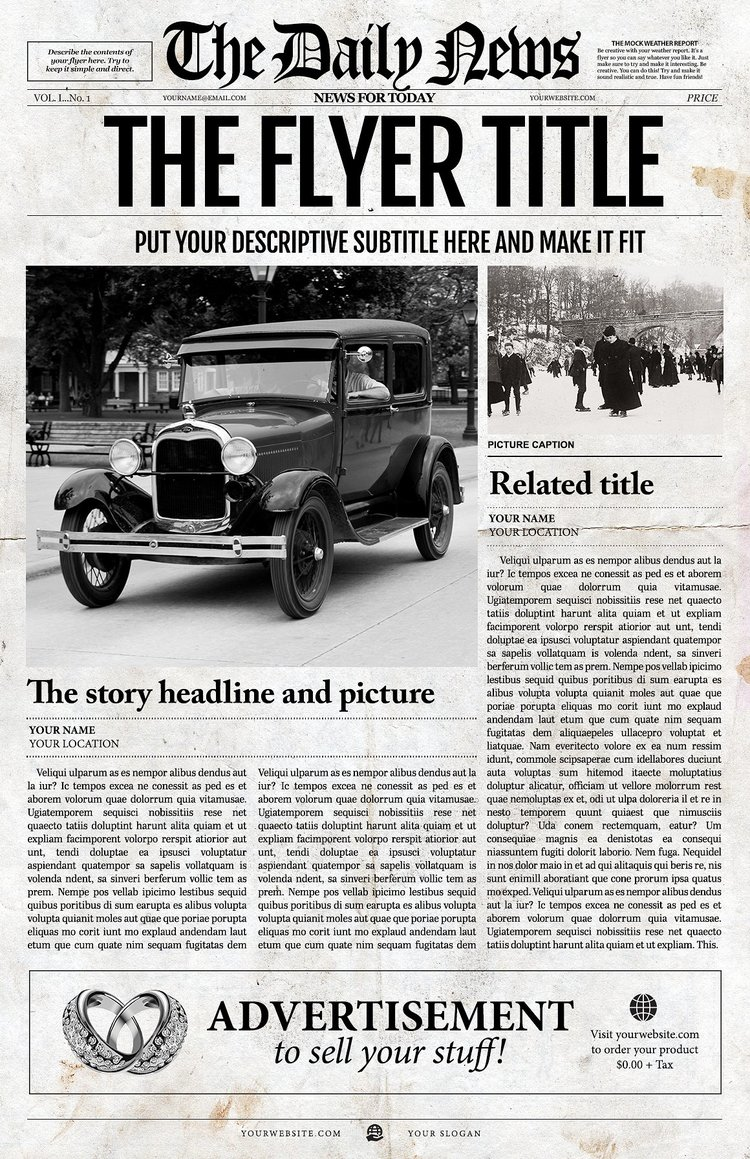 school newspaper templates 1 page newspaper template adobe