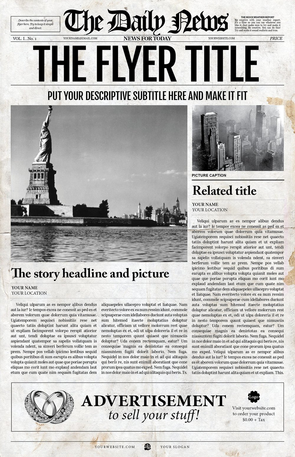 2x1 Page Newspaper Template Adobe InDesign (8.5x11 U0026 11x17 Inch)