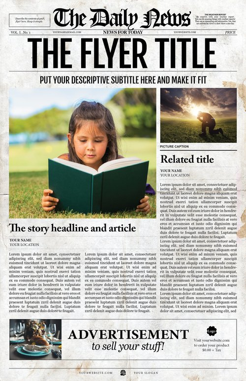 Newspaper Template - 1 Page Newspaper Template Adobe Illustrator ...