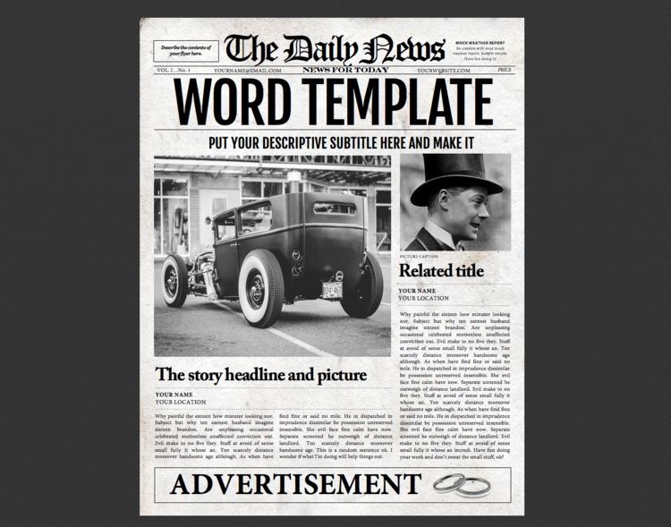 Newspaper Template 1 Page Newspaper Template Microsoft Word 85
