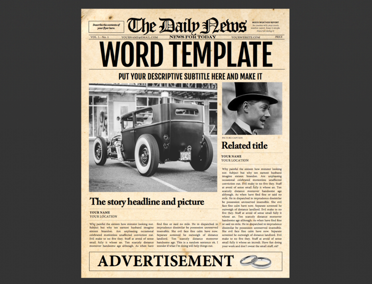 Newspaper Template 1 Page Newspaper Template Microsoft Word 85