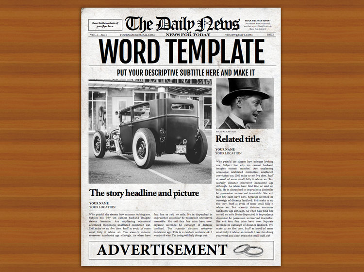 Newspaper Template - 1 Page Newspaper Template Microsoft Word (8.5 ...
