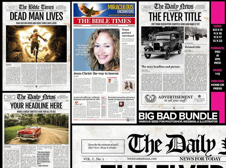 Newspaper Template 5 Newspaper Style Templates Bundle Newspaper